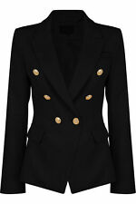 New Womens Double Breasted Golden Button Military Style Blazer Ladies Coat 8-14