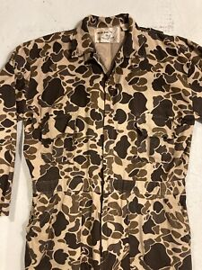 Vtg Duck Camo Coverall Duck Bay Hunting Suit Mens Sz L Cotton Canvas Black Sheep