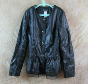 Guess Girls Black Pleather Snap Up Top Sz 7/8 EUC DH596