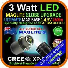 MAGLITE LED UPGRADE 2-3C/D CREE 3W BULB GLOBE for TORCH FLASHLIGHT 1-4.5V 260+lm
