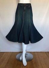 Women's ForJoseph Mid-Calf Blue Denim Jean 100% Cotton Flared Skirt Size 6