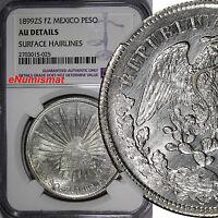 Mexico Silver 1899 Zs FZ  1 Peso NGC AU DETAILS Zacatecas Mint  KM# 409.3