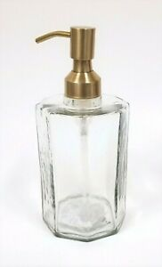 NEW THICK HEXAGON SHAPED GLASS DISPENSER+BRUSHED GOLD,BRASS TONE PUMP INDIA