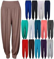 Womens Plain Harem Trousers Pants Ali Baba Leggings Baggy Aladin Boho Hippy Yoga