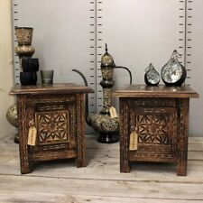 Rupicola Set of 2 Small Square Side End Tables Moroccan Style Carving Storage
