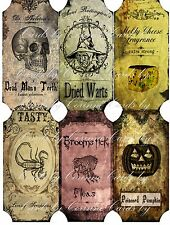 Vintage inspired Halloween 6 large bottle label stickers apothecary labels