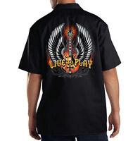 Dickies Black Mechanic Work Shirt Live To Play Rock & Roll Music Guitar Wings
