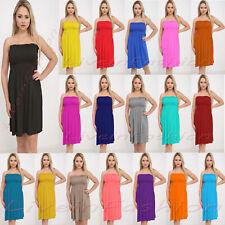e3d2e9e2aa Women s Ladies Sheering Boob Tube Gather Bandeau Ruched Top Summer Mini  Dress