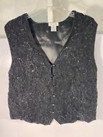 90's Connie Sellecca Sz XL Women's Beaded Sequins Floral Black Vest Lined