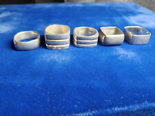 (5) VINTAGE .925 SQUARE STERLING .925 SILVER RINGS GOTHIC NOT SCRAP 70g