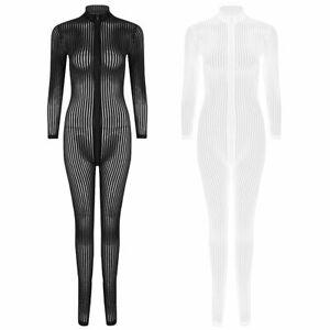 Womens Striped 2 Way Zipper Catsuit Sheer Bodysuit Long Sleeve Jumpsuit Clubwear