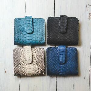 Handmade Womens Cards Coin Bifold Purse Wallet Real Python Snakeskin Leather