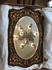 Italian Inlaid Wood Mirror with Floral Pattern & Oval Mirror