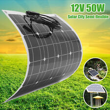 50W 12V Elfeland Semi-flexible Solar Panel Off Grid & 1.5m Cable For RV Boat