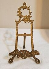 Vintage Brass Easel Stand Ornate Victorian Display For Plate, Book, Pictures 11""