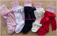 NEW Spanish / Romany Style Baby Girls Knee High Socks Satin Bow Newborn -6 years