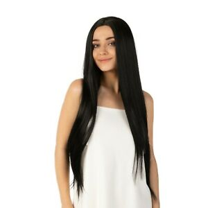 Long Straight Black Wig Fancy Dress Halloween Costume Soft Luxury Wig Costume