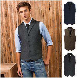 Mens Herringbone Waistcoat Wool Blend Mix Tweed Collar Formal Vest Gilet Wedding