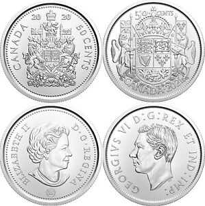 Brilliant Uncirculated 2021 Canada Plain & Special 50 Cents From Mint's Rolls