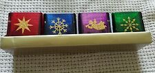 Lot of 4 Multicolor Christmas Holiday Sq Candleholders (Angel Star Snowflake)