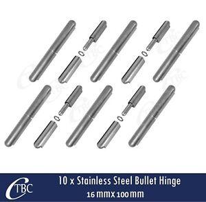 10x Stainless Steel Hinge Bullet Weld 16mmx100mm Window Trailer Gate Caravan Pin