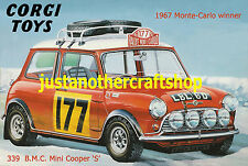 CORGI TOYS 339 Mini Cooper Monte Carlo Rally 1967 Poster Pubblicità segno foglio A3