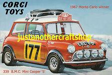 Corgi Toys Mini Cooper Monte Carlo Rally 339 Poster Advert Sign Leaflet 1967 A4