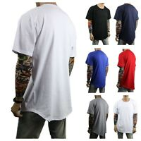 Men's Long T-Shirt Extended Casual Tee Elongated Basic Crew Neck Hipster S-5XL