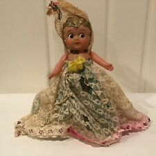 Vintage Celluloid Kewpie Carnival Doll Lace Dress Gold Hair * 1930s - 1940s ?