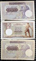 Yugoslavia 100 Dinara 1941 42 Occupation Overprint Banknotes WW2 lot of 3 Notes