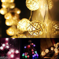 10/20 LED Rattan Ball String Lamp Fairy Lights For Xmas Wedding Party Decor NEW