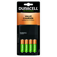 Duracell AA / AAA NiMH Battery Value Charger, With 4 AA Rechargeable Batteries
