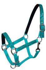 TEAL Nylon Neoprene Lined PONY Size Halter w/ Glitter Overlay!! NEW HORSE TACK!
