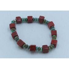 PETITE 925 Sterling Silver Natural Green Turquoise Red Coral Stretch Bracelet