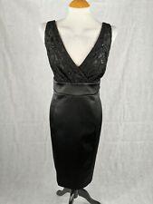 Ladies Dress Size 16 PETITE Debenhams Black Satin Lace Wiggle Party Evening