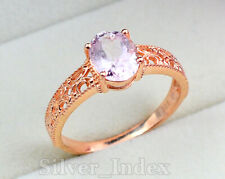 14K Solid Rose Gold 9X7 MM Morganite Natural Gemstone Engagement Ring For Women
