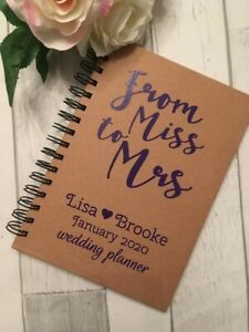 A5 Personalised Wedding Planner, Miss to Mrs Note Book Journal Organiser