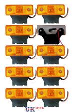10x 12V Amber Front Side Marker LED Light Indicator c/w rubber bracket fit Truck