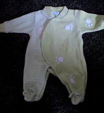 Très joli pyjama velours vert anis vif T.0 mois-naissance Kimbaloo Parfait état