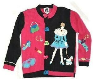 StoryBook Knits Sweater Pink Black Poodle Pearls sz S Cardigan Embellished
