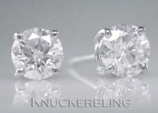 Diamond Solitaire Studs: Round Brilliant Cut 1.00ct Certified D IF Exc Platinum
