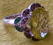 LEVIAN LEMON QUARTZ RING W/ CHOCOLATE DIAMONDS & TSAVORITE GARNETS - 14 K WHITE