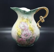 "Lefton China Heirloom Elegance 5.5"" Water Pitcher/Vase Teal Yellow 5523"
