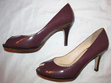 COLE HAAN NIKE AIR CARMA eggplant patent peep toe pumps shoes 8.5 M