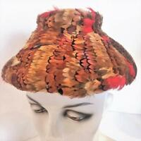 Hat Vtg 1950s Pheasant Feather Bucket Flower Pot Hat Custom Sewn Satin Lined Exc
