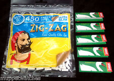 ZIG ZAG Bag of 450 ULTRA SLIM Filter Tips & 5 Booklets of SWAN GREEN Papers