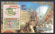 SINGAPORE 2001 BELGICA BELGIUM EXHIBITION SHEET ZODIAC SNAKE SOUVENIR SHEET MINT