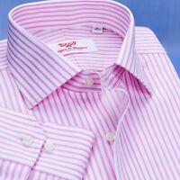 Pink Twill Stripe Business Dress Shirt Mens Formal Fashion Luxury Button Cuff A+