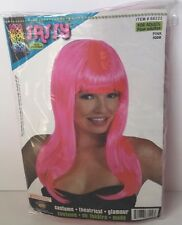 """Neon Pink 20"""" Long Sassy Adult One Size Costume Wig W/Bangs Theatrical Glamour"""