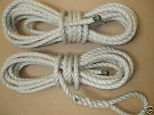 2 X 15mtr x 14mm SYNTHETIC HEMP MOORING LINES WITH SPLICED EYES